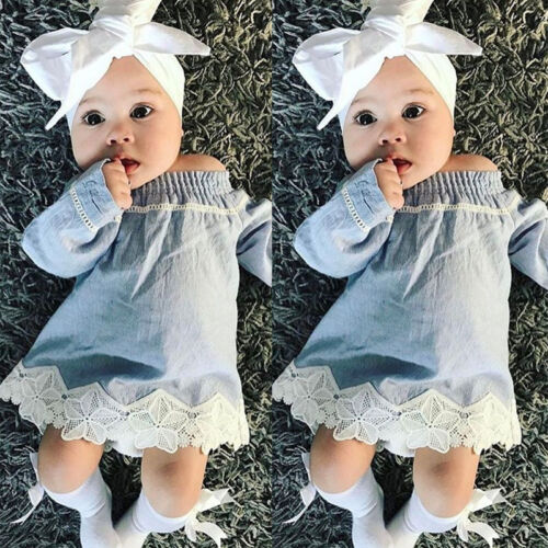 Newborn Baby Girl Lace Off Shoulder Denim Dress Party Princess Hoilday Dresses w