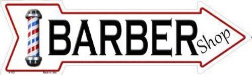 "Barber Shop Metal Arrow Sign 17/"" x 5/"" ↔ Haircut Business Novelty Home Wall Decor"