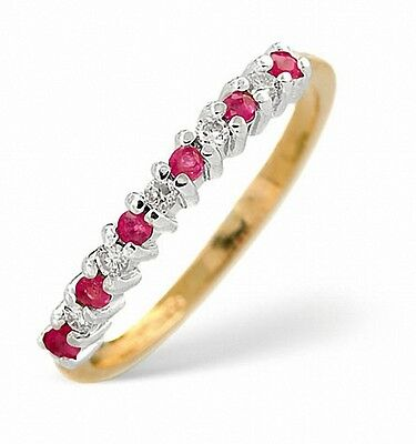 GemäßIgt Ruby And Diamond Eternity Ring Size F - Z Yellow Gold Appraisal Certificate