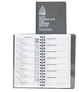 dome car auto mileage log expense record book receipt pocket