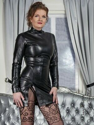 Lederkleid Kleid Yuna Schwarz Mini Stehkragen Langarm Massanfertigung Ebay