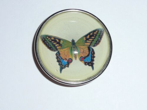 """Adorable Butterfly Domed Picture Shank Button w//Silver Bezel  1-1//2/"""""""