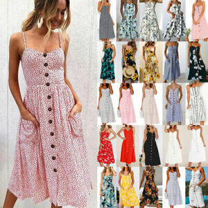 UK-Womens-Strappy-Button-Pocket-Ladies-Summer-Holiday-Beach-Midi-Swing-Sun-Dress