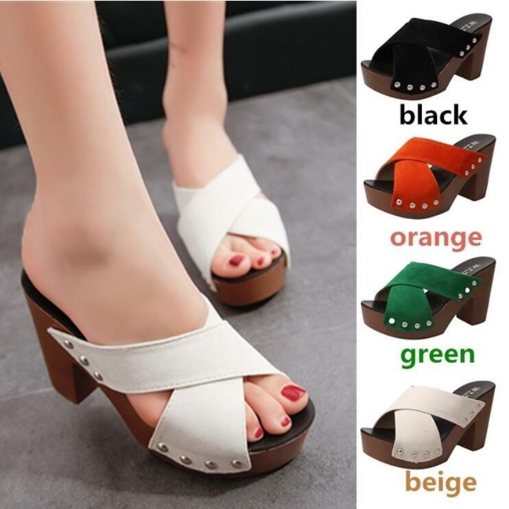 Womens Platform High Peep Block Heel Sandals Rivets Peep High Toe Cross Straps Comfy Shoes da591b
