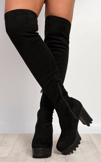 knee high boots Black Velvet Stretch Size Uk 3 New