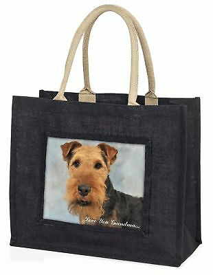Walisisch Terrier' liebe Dich Oma' große schwarze Einkaufstasche Weihnachten,