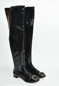 Knee Boots Black Patent Leather Size