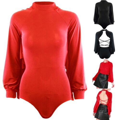 Womens Leotard Open Backless Frill Ladies Long Sleeve Turtle Neck Bodysuit Top