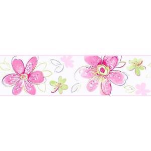 Wallpaper-Border-Pink-Lime-Green-Lavender-on-White-Bohemian-Floral
