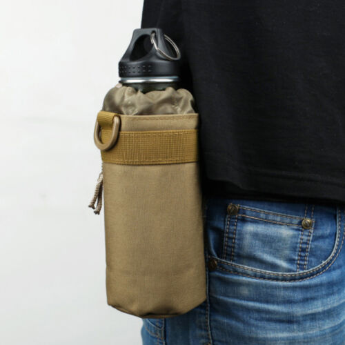 Tactical Molle Zip Water Bottle Kettle Pouch Shoulder Sling Strap Holder Bag New