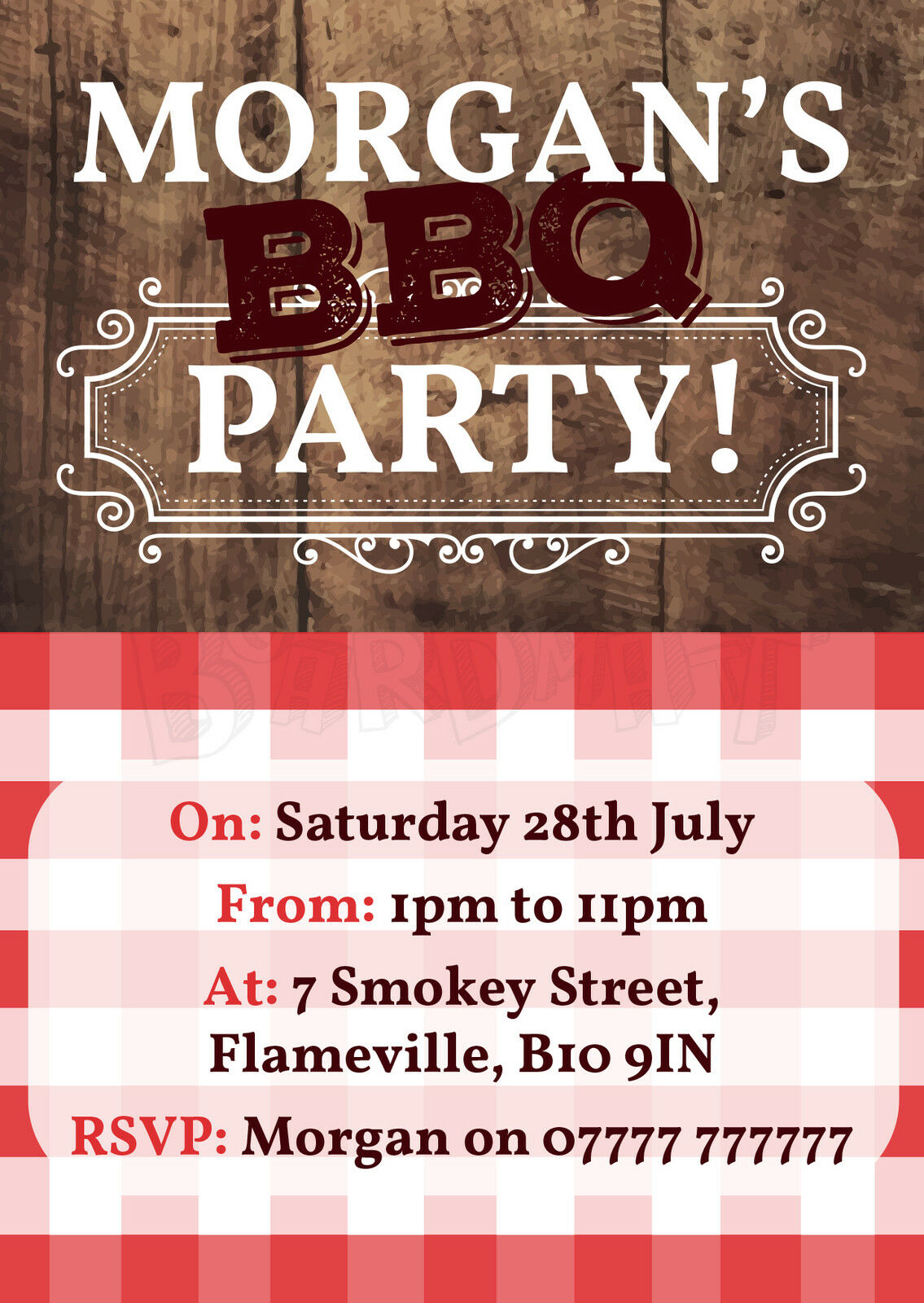 PREMIUM QUALITY - - - BBQ - Barbecue - Barbeque - Personalised Party Invites - PBBQ6 140d20