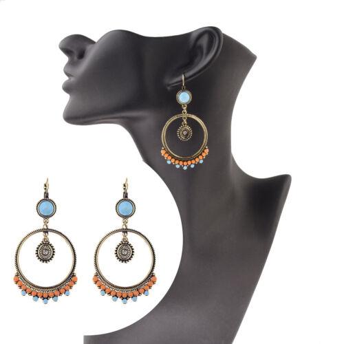 Nouveau vintage ethnique Big Round Hollow Turquoise Drop Dangle Clip-on Women Boucles D/'oreilles
