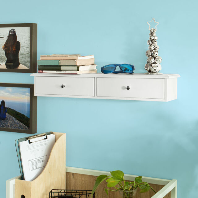 So Wall Mounted Shelf Storage Drawers Display Unit White Frg43