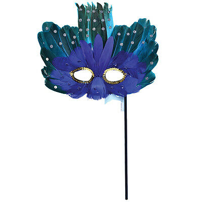 #blue Adulti E Verde Piuma Maschera Per Gli Occhi Su Stick Halloween Fancy Dress Accessorio-mostra Il Titolo Originale Altamente Lucido