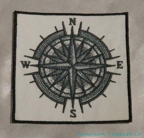 Embroidered Gray Mariner/'s Compass Navigation Nautical Ocean White Patch Iron On