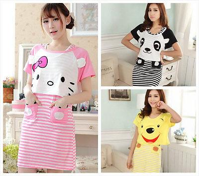 2 Pieces / set cartoon pajama sets /sleepcoat / nightclothes / sleepwear 3 types