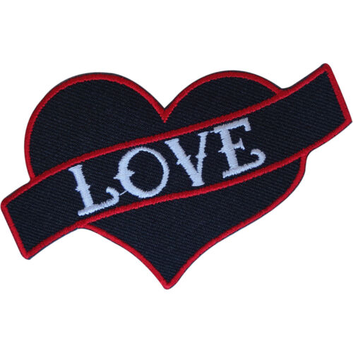 Embroidered Black Red Love Heart Tattoo Patch Badge Iron Sew On Shirt Jeans Bag