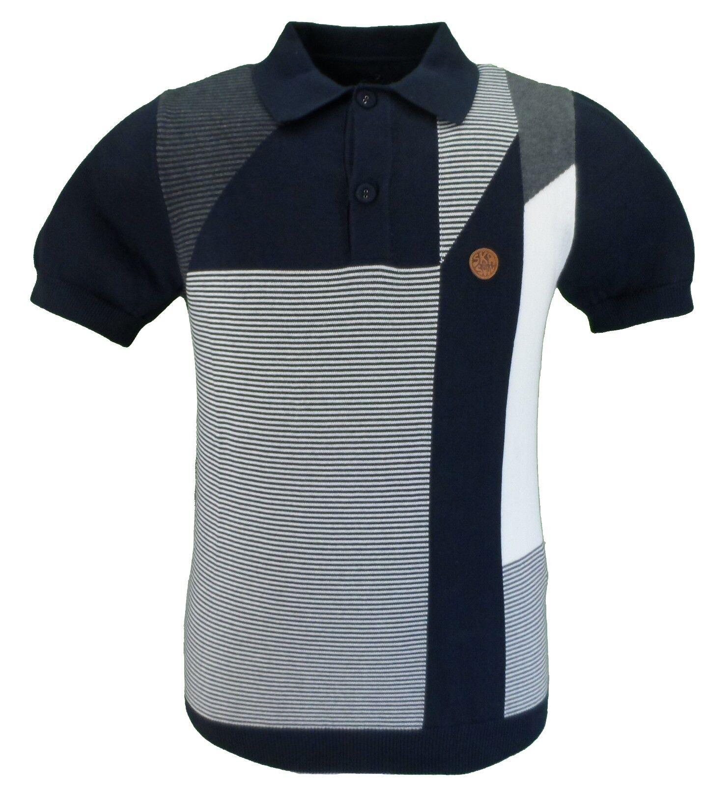 Ska & Soul Navy Panel Fine Gauge Knitted Polo Shirt