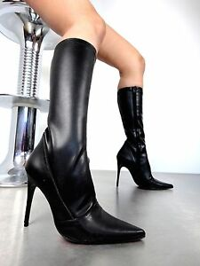 Stiefel Stretch Bottes Talons Giohel 44 Noir Knee Hauts Italy Pointu Cuir Boots 77nH80x