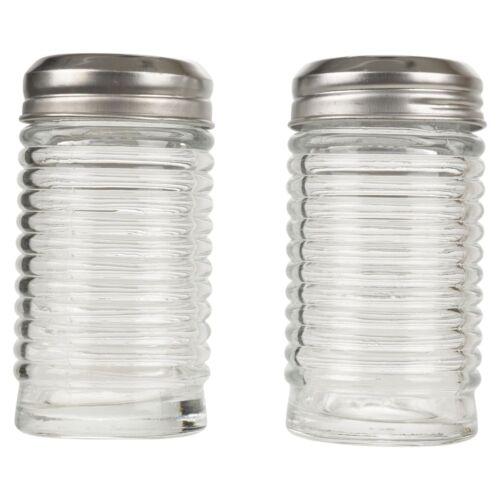 Grand verre sel et poivre Set Shaker pot bocaux pots à vis couvercle en acier inoxydable