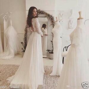 Lace Chiffon Beach Wedding Dresses Long Sleeve Open Back Long Bridal ...