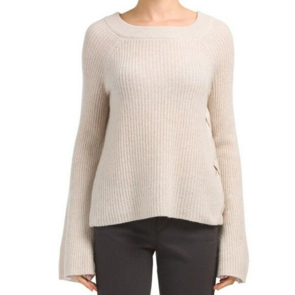 ✨NEW✨ Only Mine Oatmeal Soft Side Lace-Up Cashmere Sweater