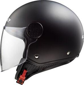LS2-of558-Sphere-ouvert-leger-moto-jet-casque-de-Scooter-Noir-Mat