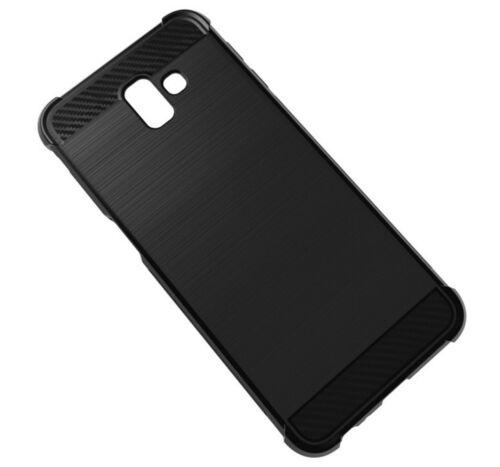 Samsung Galaxy j6 Plus estuche funda protectora Carbon TT negro móvil cartera case
