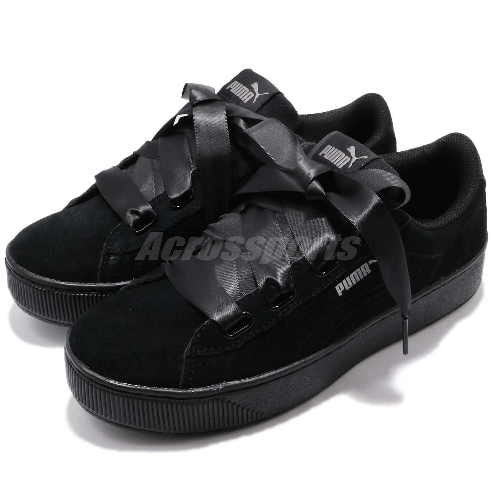 Puma Vikky Platform Ribbon S Bow negro Bold mujer zapatos zapatillas 366418-01
