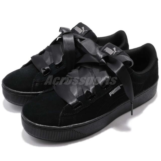 size 40 4aaae c06ed Puma Vikky Platform Ribbon S Bow Black Bold Women Shoes Sneakers 366418-01