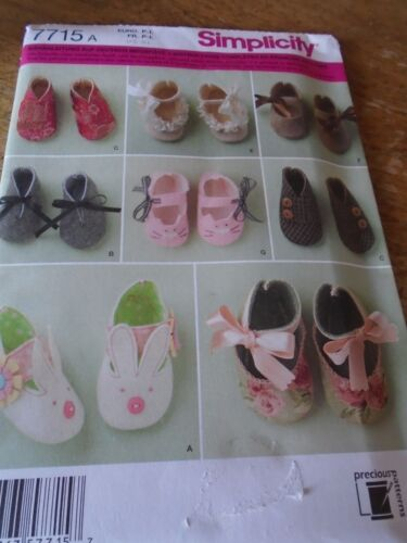 """7715 PATRON /""""SIMPLICITY /"""" 7 VERSIONS CHAUSSURES CHAUSSONS BEBE 1ER AGE"""
