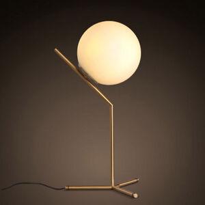 Modern White Glass Globe LED Desk Lamp Plugin Floor Bedside Table Lights Fixture