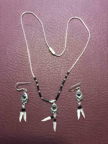 Sterling Silver Necklace and Earring set with Feathers and Black Beads NEW