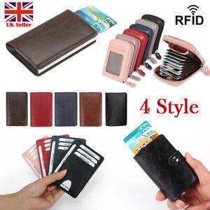 Credit-Card-Case-Holder-Leather-RFID-Blocking-Multi-Pocket-Money-Change-Wallet