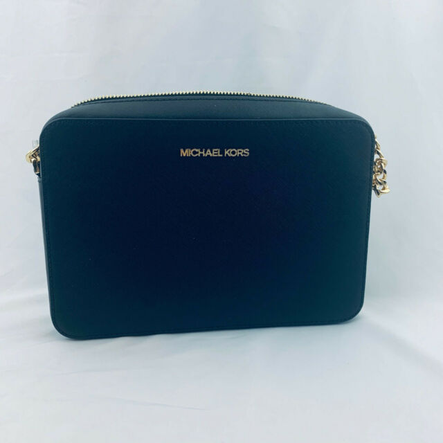 NWT Michael Kors MK Jet Set Large EW Saffiano  Crossbody Bag Black Gold