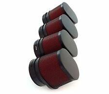Set of 4 Black & Red Oval Air Filters - 54mm - Honda CB650/750/900/1000/1100