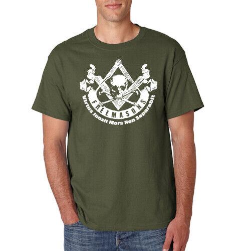FREEMASONS Masonic T-Shirt Square Compass Skull Masonry Illuminati S-6XL Tee