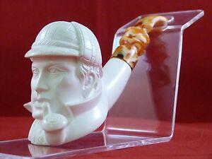 Image is loading SMS-Meerschaum-Sherlock-Holmes-Pipe-Erdogan-Ege-Carved- & SMS Meerschaum Sherlock Holmes Pipe! Erdogan Ege! Carved in Turkey ...