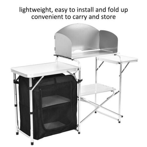 Campingküche Windschutz Sideboard faltbar Camping Aufbauschrank Alu Spritzschutz