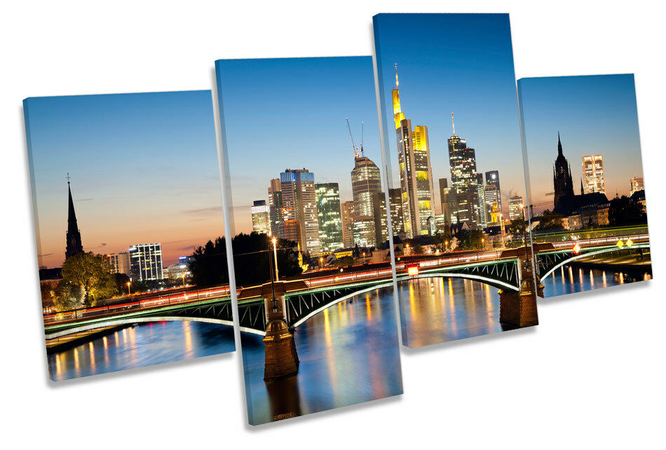 Frankfurt Germany City River MULTI CANVAS WALL ART Picture Print