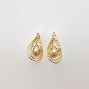 Faux-Pearl-Gold-Tone-Wire-Earrings