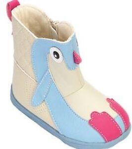 Infant's sz 10  ZOOLIGANS  Tux the Penguin Zipper Boots Shoes BLUE /  VANILLA