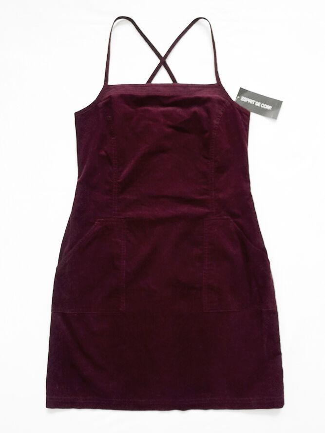 NEW WITH TAG ESPRIT CORDUROY Burgundy Cross Back Strap Dress + Pockets 5 6
