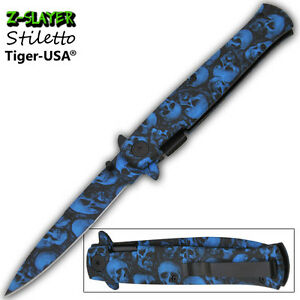 Details about Blue Zombie Skulls Stiletto Pocket Knife Assisted Opening  Knives