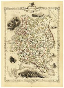 Old Vintage Map of Austria Hungary richly illustrated Tallis 1851