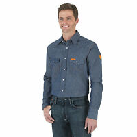 Wrangler Men's Flame Resistant Blue Denim Work Western Shirt - Fr12127