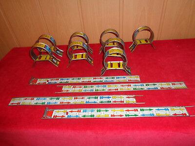 Aufrichtig Altes Blechspielzeug , Blechbahn, Schienen, Stützen 12 Teile