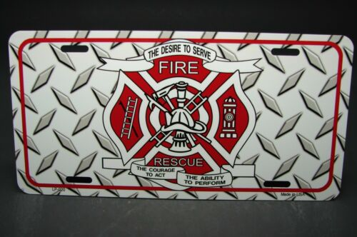 FIREFIGHTER RESCUE METAL NOVELTY CAR LICENSE PLATE TAG FIRE DEPARTMENT