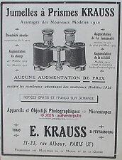 PUBLICITE E. KRAUSS JUMELLES A PRISMES OBJECTIF PHOTOGRAPHIQUE DE 1910 FRENCH AD