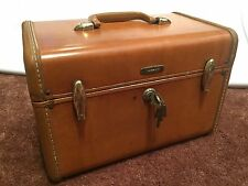 Samsonite Vintage Train Make Up Case Luggage Brown With Originals Keys FREE SHIP